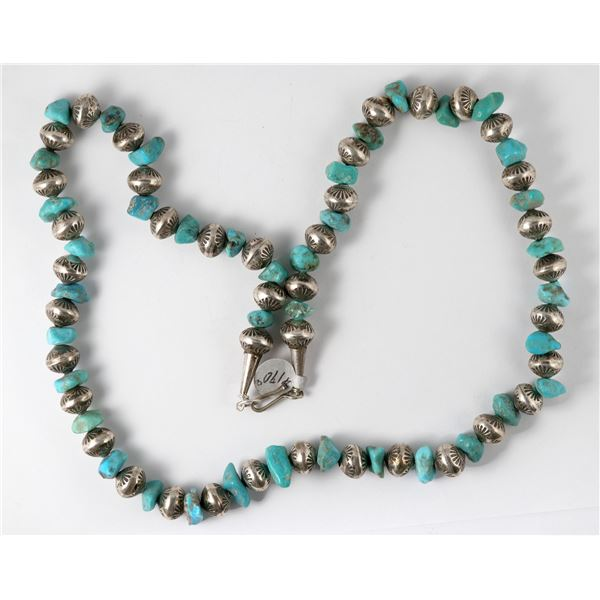 Turquoise and Silver Bead Necklace  [137279]