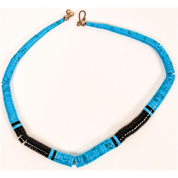 Turquoise and Jet Beaded Necklace  [137080]