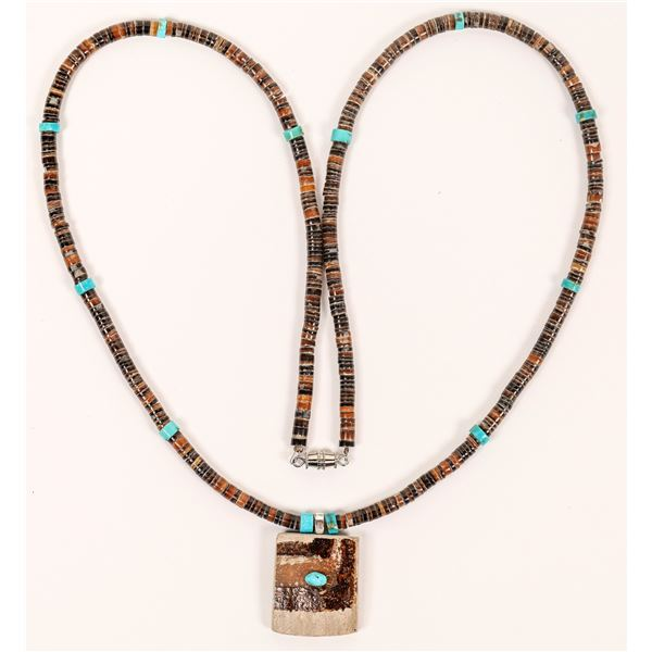 Turquoise and Maile Stones Necklace  [137077]