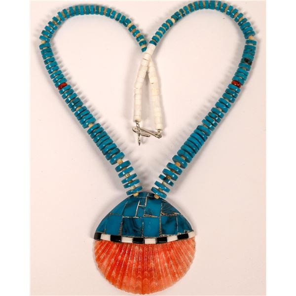 Turquoise Beaded Necklace with Shell Inlay Pendant  [137078]