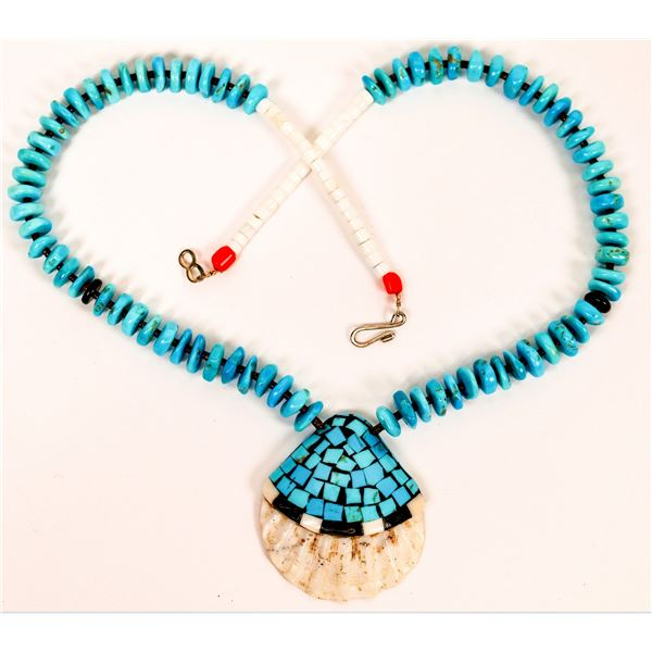 Turquoise Beaded Necklace with Shell Inlay Pendant  [137079]