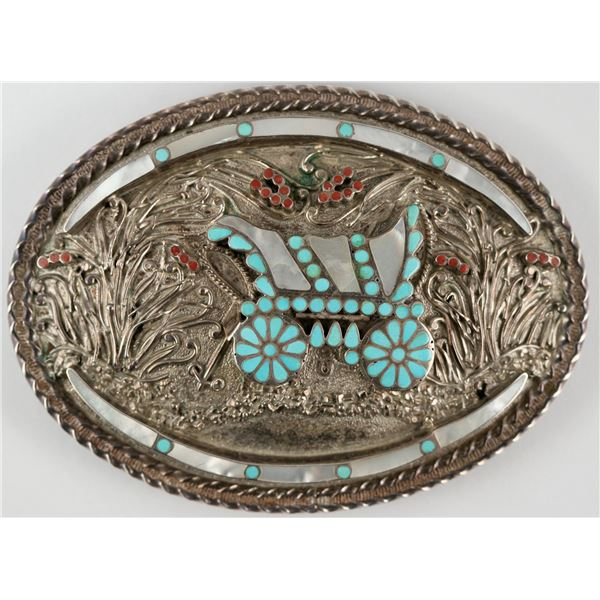 Dishta Silver and Turquoise Belt Buckle  [137187]