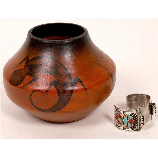 Frank Vacit Watch Band & R. Galvan Signed Mexican Pot  [136992]