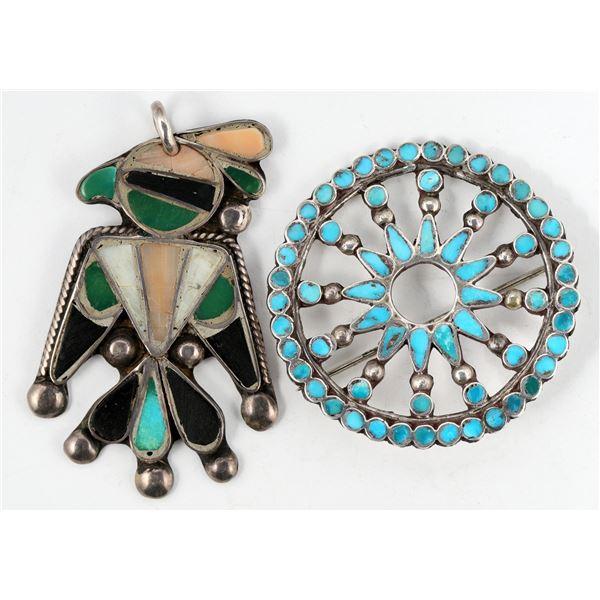 Hopi Bird Pendant, Zuni Inlay Pendant  [137277]