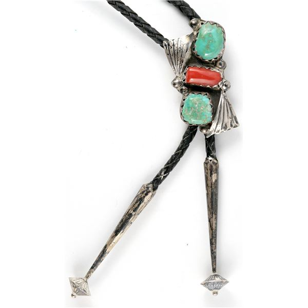Silver, Turquoise, Coral Bolo  [137200]