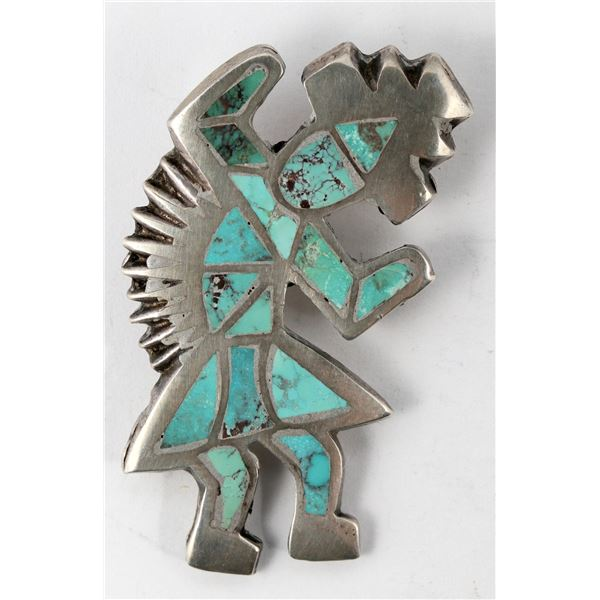 Sterling and Turquoise Rainbow Man Pin  [137264]