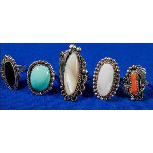 Ladies silver rings (5)  [137750]