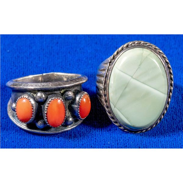 Pair of Men's Turquoise Silver Rings  [137699]