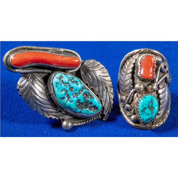 Pair of Silver Turquoise and Coral Rings  [137752]