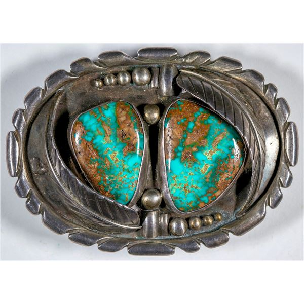Silver and Green Turquoise Belt Buckle   [137697]