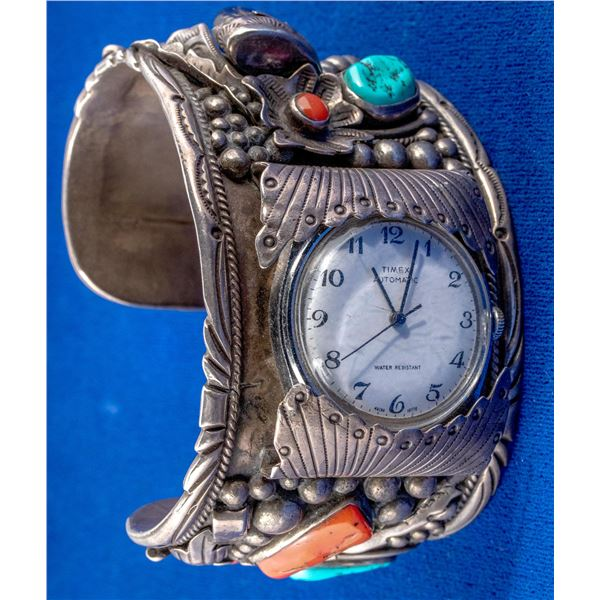 Silver and Turquoise Navajo Cuff Watch  [137691]