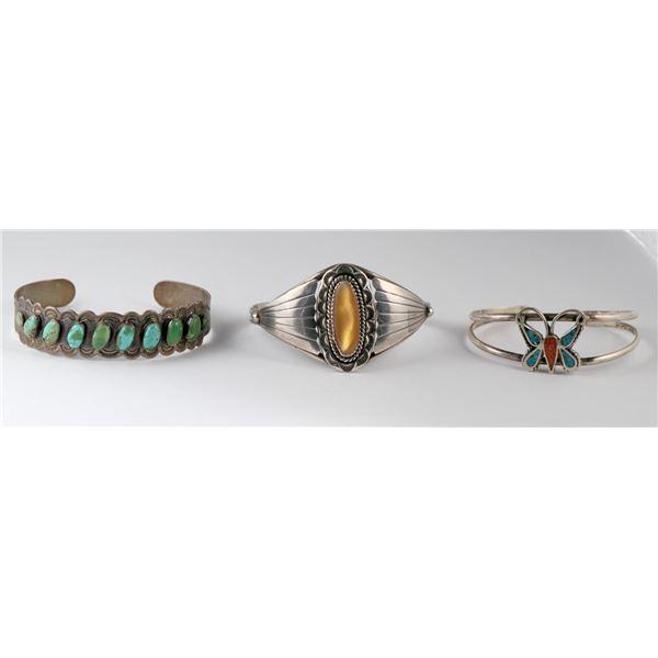 3 Small Native American Cuffs  [137240]