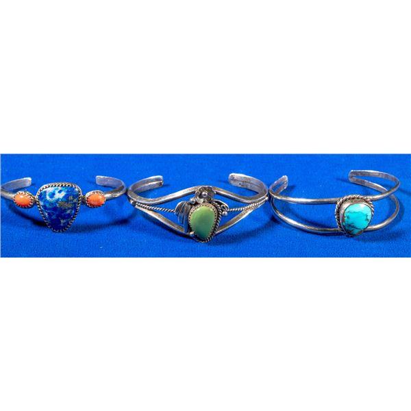 Women's Silver Cuff Bracelet Trio  [137693]