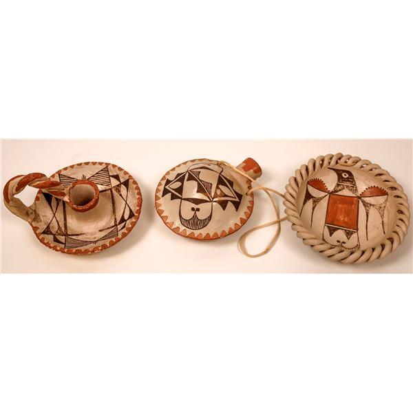 Acoma Sky City Polychrome Pottery  (3 Pieces)  [137546]