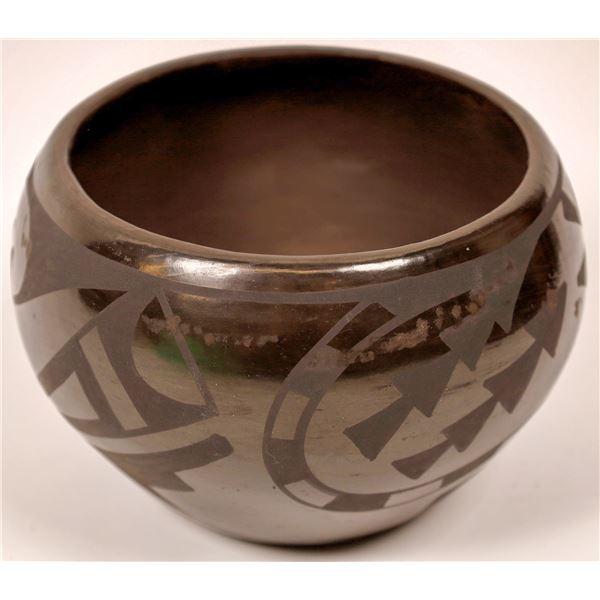 Chocolate Brown On Brown Ware Pottery Jar Signed Carlos Sunrise Dunlap -RARE!  [137547]
