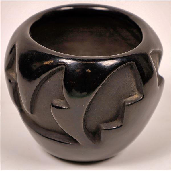 Santa Clara Pueblo Black on Black Pottery Bowl Signed Frances Salazar  [137548]