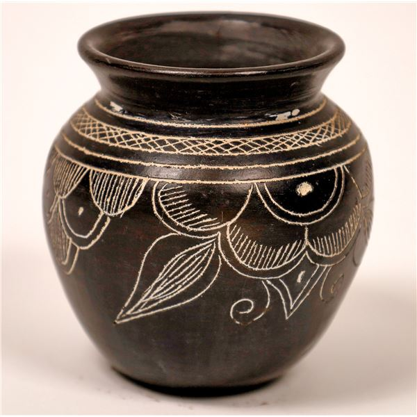 Early Etched Black Pottery Vase, Unsigned  [137549]