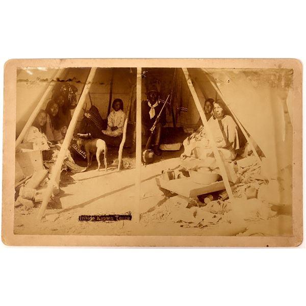 Mounted Photograph of Interior of Kiowa Tepee, Ft. Sill  [135762]