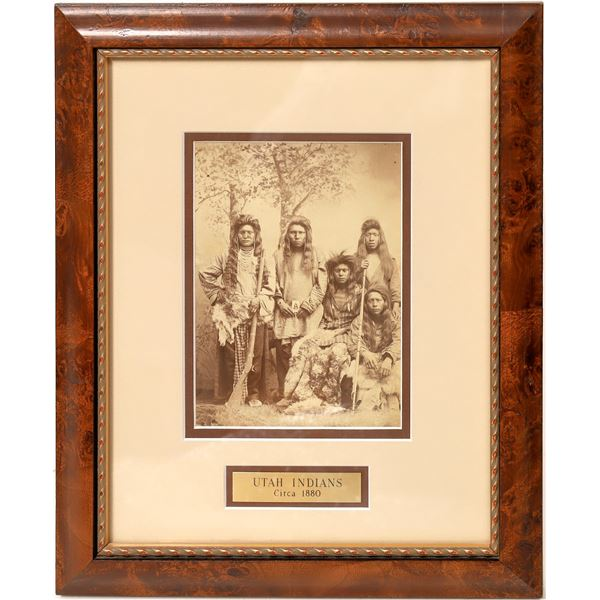 Framed Photograph of Utah Native Americans (One w/ Musket)  [135872]