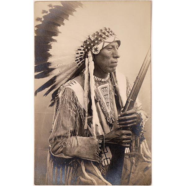 Native American Chief w/ Rifle Real Photo Postcard  [135747]