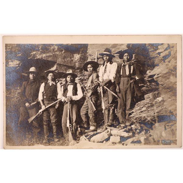 Native American Group w/ Rifles Real Photo Postcard  [135746]