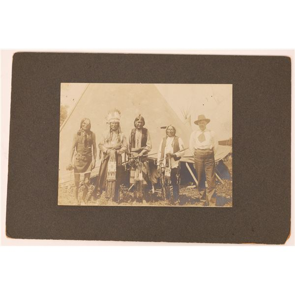 Mounted Photograph of Native Americans w/ Beaded Pipe Bags  [134178]