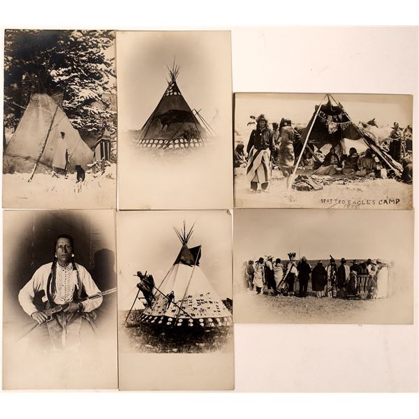 Die Cut Real Photo Postcards of Spotted Eagle's Camp by Magee  [134202]