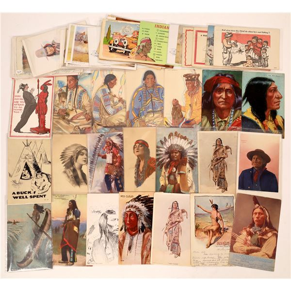 Allegorical and Humorous Native American Postcard Collection  [137590]