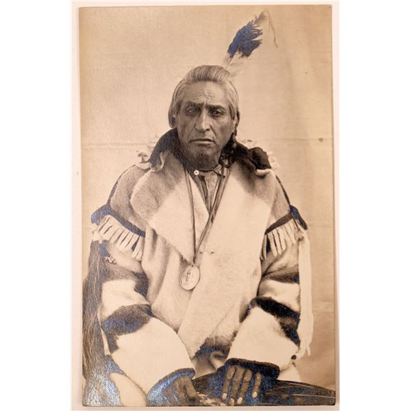 Native American with Private Issue Washington Peace Medal Real Photo Postcard  [135751]