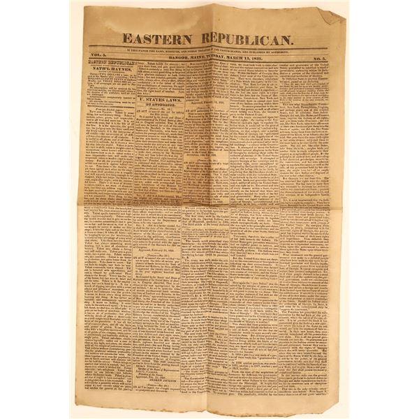 Eastern Republican Newspaper Discussing Cherokee Treaty in Georgia  [135239]
