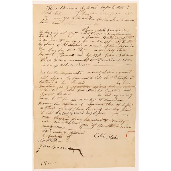 1791 Document Requesting Payment for Military Service During the Revolutionary War  [135994]