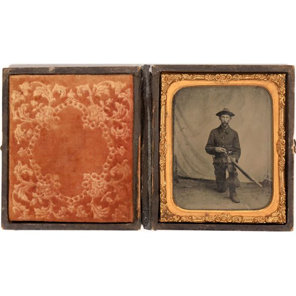 Tintype Photo of a Civil War Soldier with Spencer Rifle  [137532]
