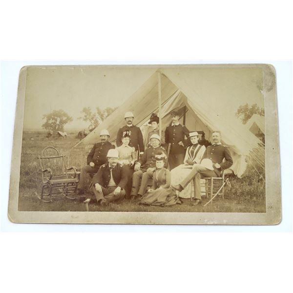 Cabinet Card photograph 1880's Artillery Unit with Wives  [137736]