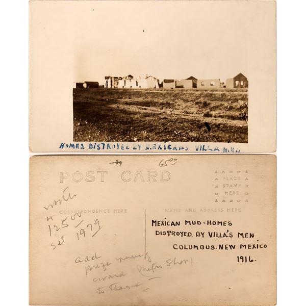 Pancho Villa Postcard Depicting Damaged Homes  [138965]