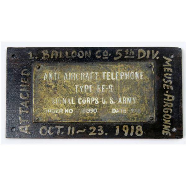 WW 1 Anti Aircraft Telephone Plaque  [137723]