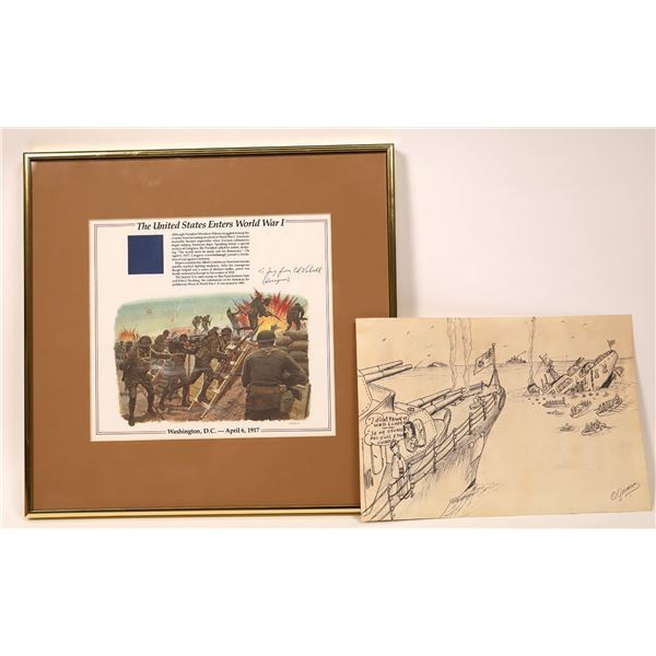 """Vebell Print """"Over the Top"""" for a US Stamp, plus O. German WW2 Cartoon [136921]"""