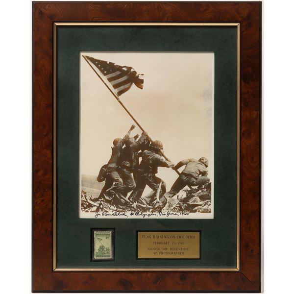 Framed Flag Raising Iwo Jima Photograph Signed by Photographer Joe Rosenthal  [135871]