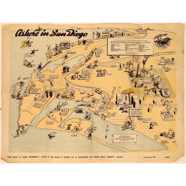 """""""Ashore In San Diego: Souvenir of Your First Liberty"""" Humorous Map  [135660]"""