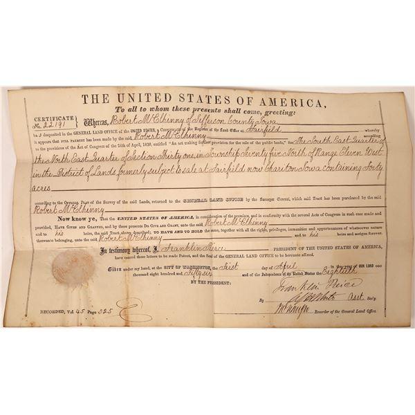 Franklin Pierce Signed Land Grant Certificate  [132577]