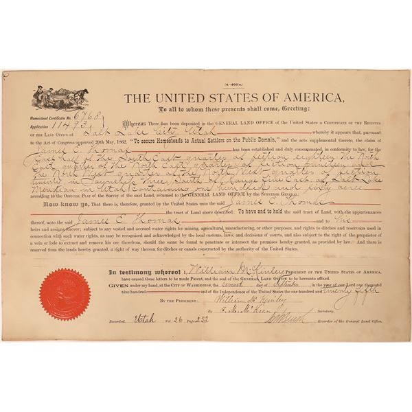 William McKinley Signed Utah Land Grant  [135668]