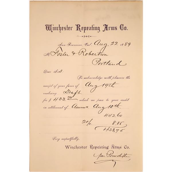 Winchester Repeating Arms Co. Receipt  [135837]