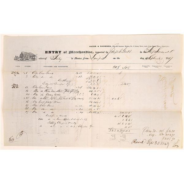 Bill of Lading for a Gun Shipment to Philadelphia by Importer Joseph C. Grubb 1847  [135995]