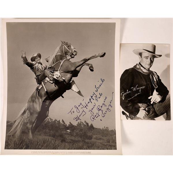 Roy Rodgers Autographed Photograph Plus John Wayne RPC  [134195]