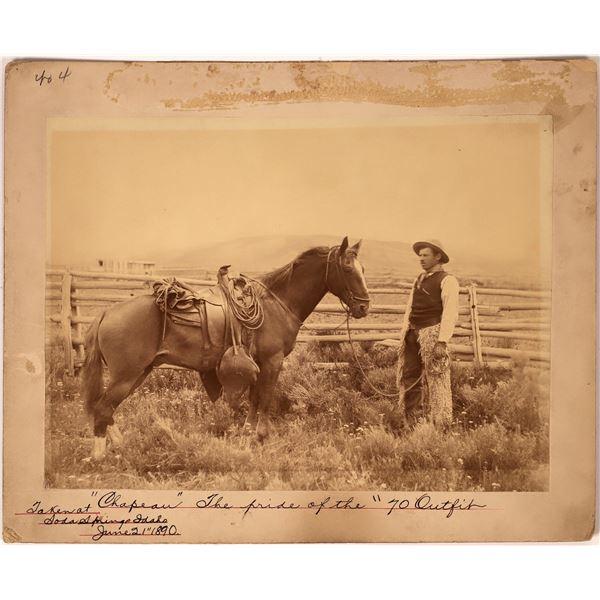 c.1890 Photograph of Idaho Cowboy & His Horse at the Two-Bar 70 Ranch  [134199]