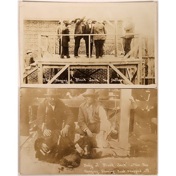 """Real Photo Postcards of the Hanging of Train Robber """"Black Jack""""  [134215]"""