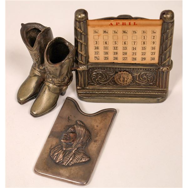 Two Silver Cowboy & Native American Pieces  [134198]