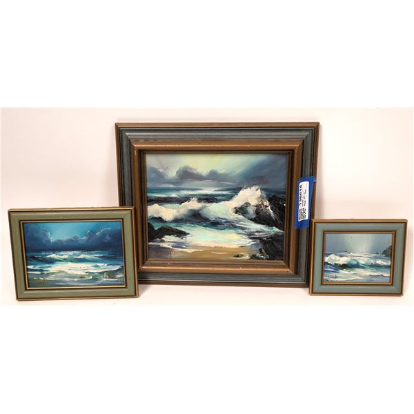 Ocean Landscapes, 3 Original Paintings by D. Spangler  [136616]