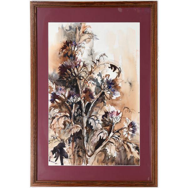 """Original Watercolor by Sylvia Miller, """"Purple Artichokes""""   [133770]"""