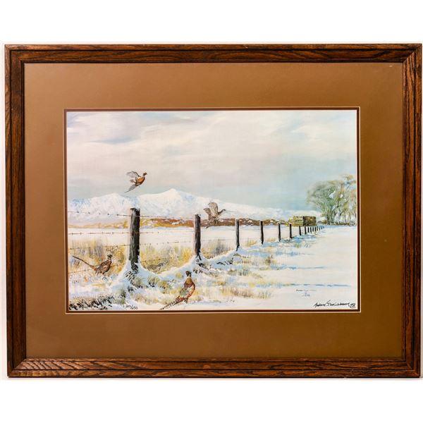 Winter Morning Pheasants Duck Landscape Print  [135160]