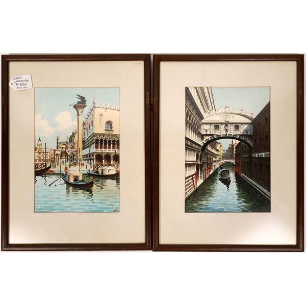 A Pair of Shyrack Watercolors  [137035]